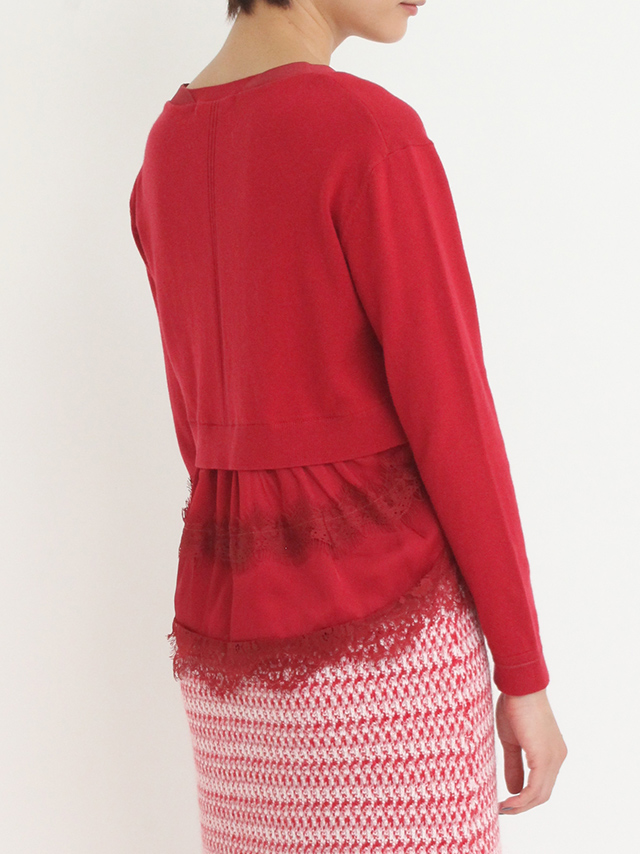 back lace pearl cardigan