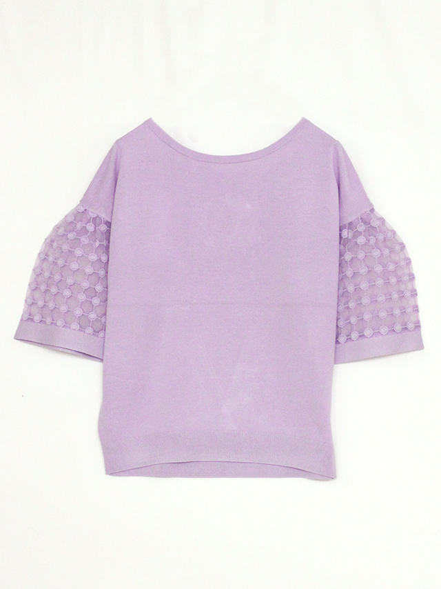sleeve dot lace top