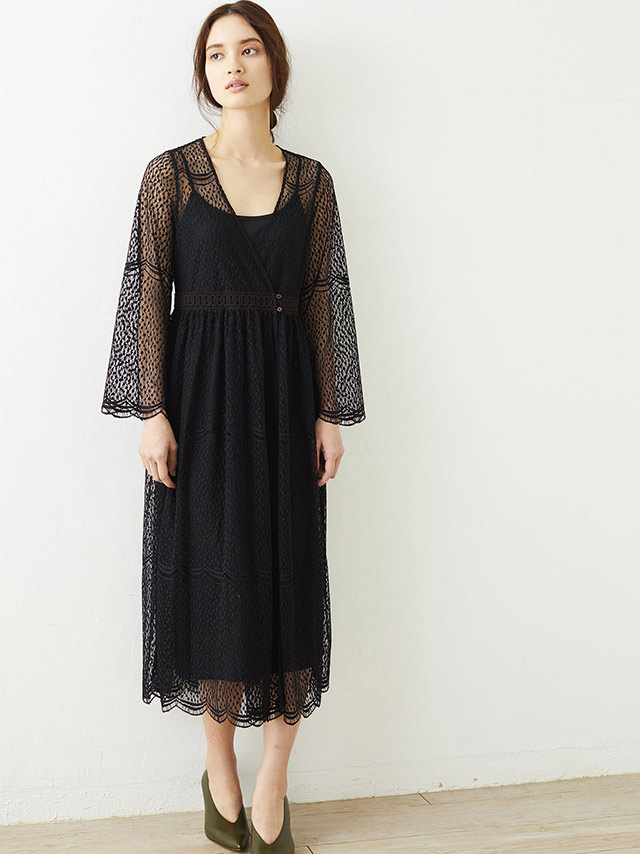 dot lace gown dress