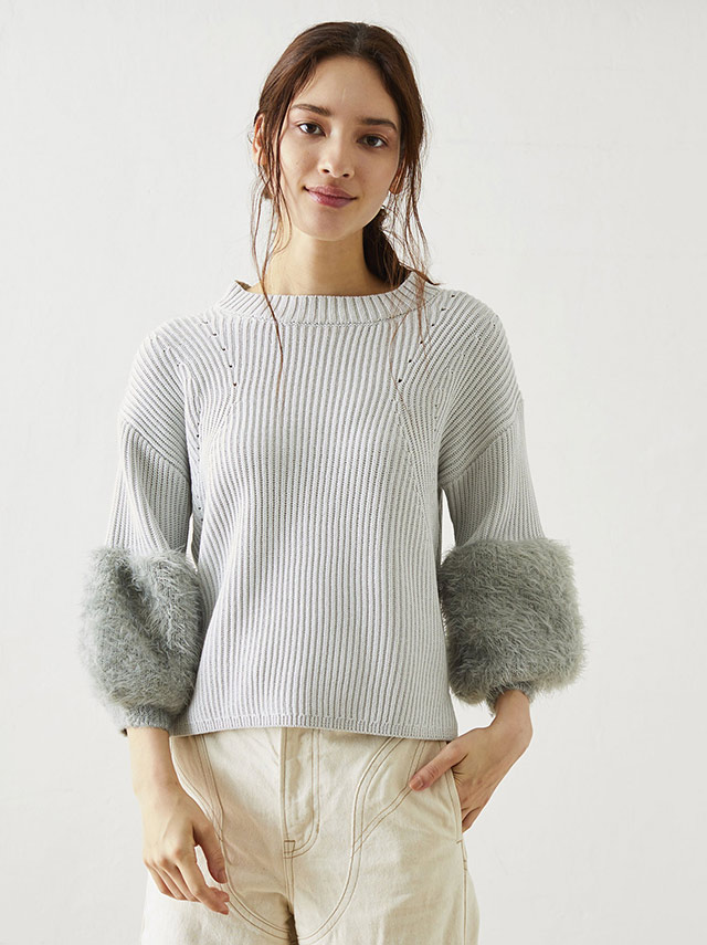 sleeve shaggy knit