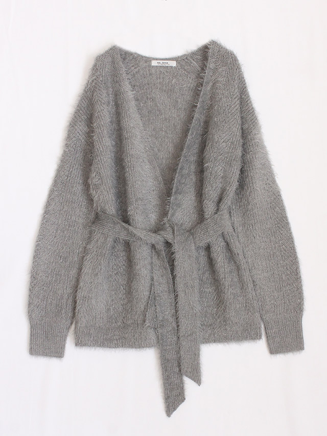 shaggy belted cardigan