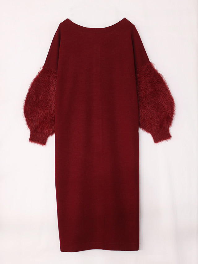 sleeve shaggy knit dress