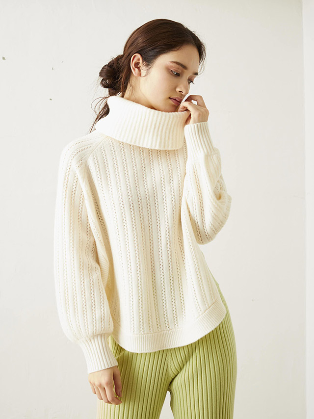 high-neck crochet knit