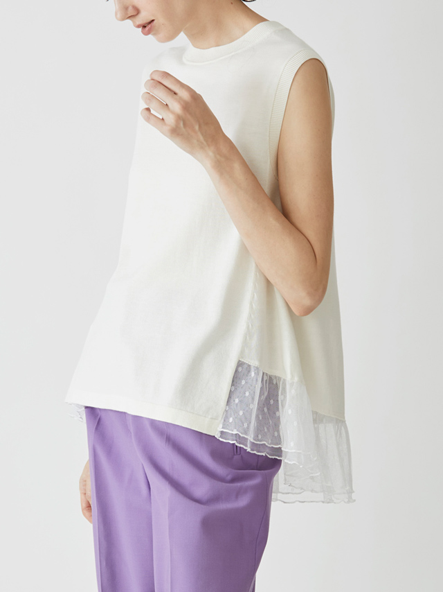dot see-through sleeveless top