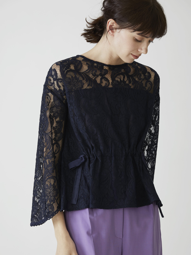 lace waist ribbon blouse