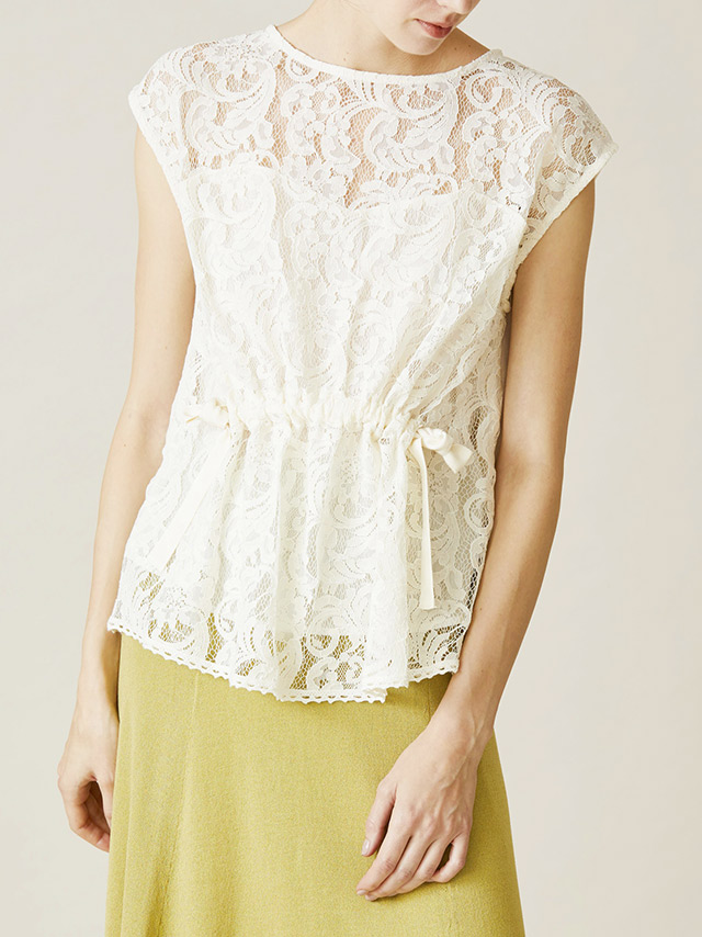 sleeveless lace waist ribbon blouse