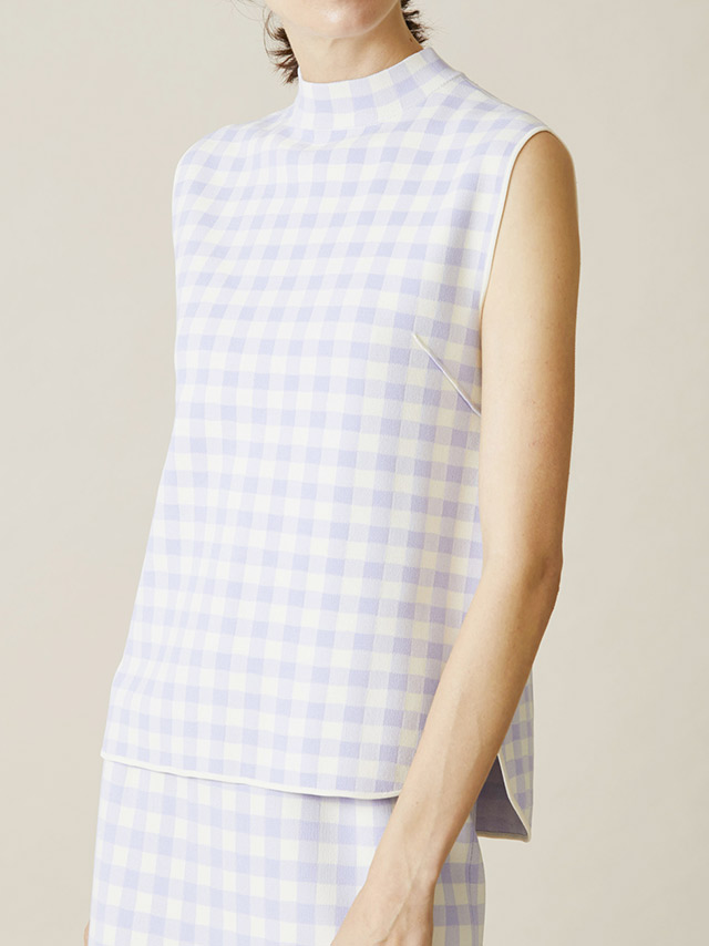 gingham check jacquard top