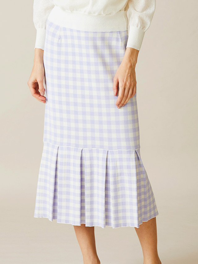 gingham check jacquard skirt