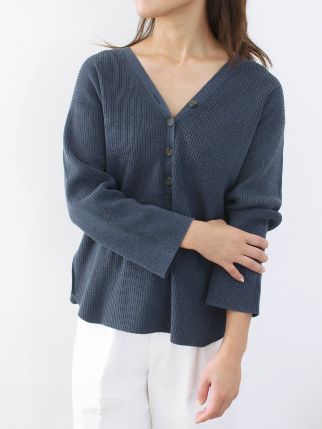 henley neck rib top