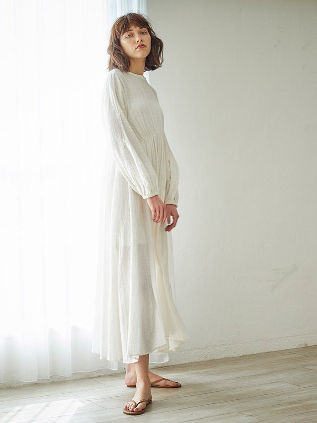 back open cotton long dress