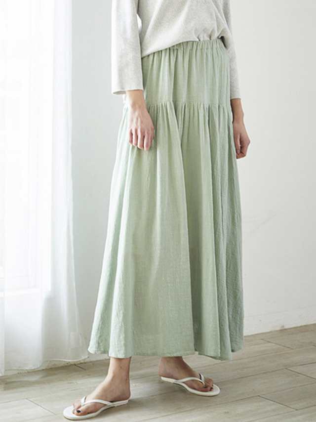 cotton long tiered skirt