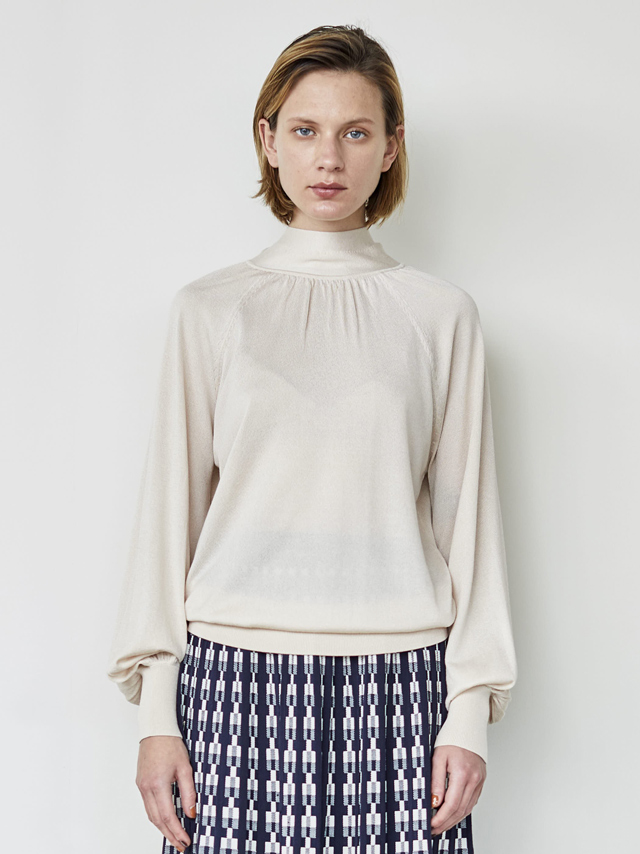 tie collar knit blouse