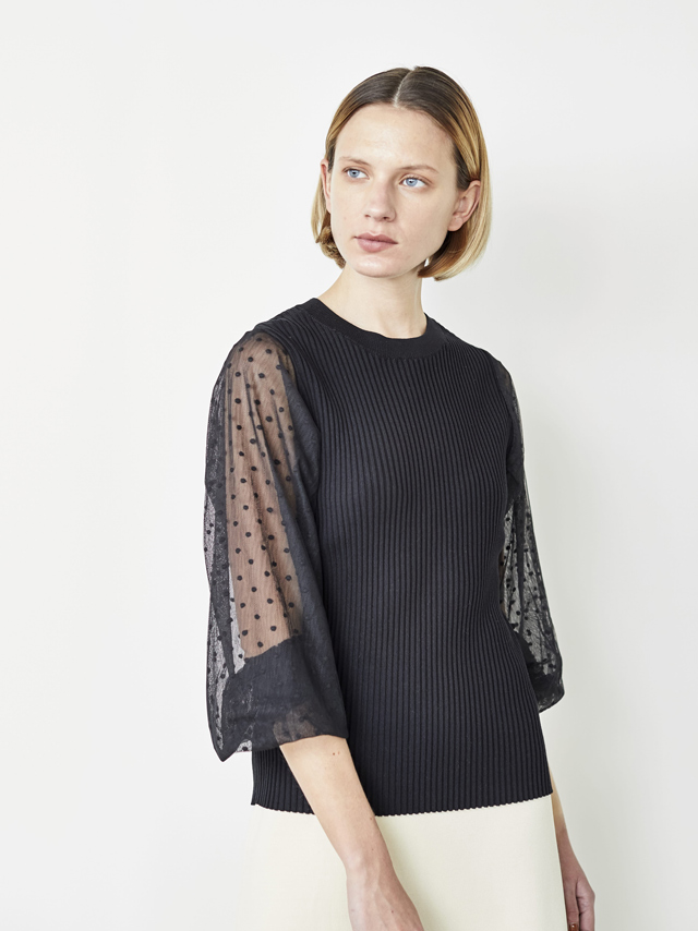 dot see-through sleeve top
