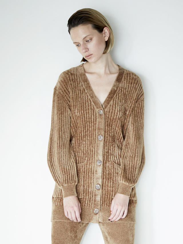 velour rib knit cardigan