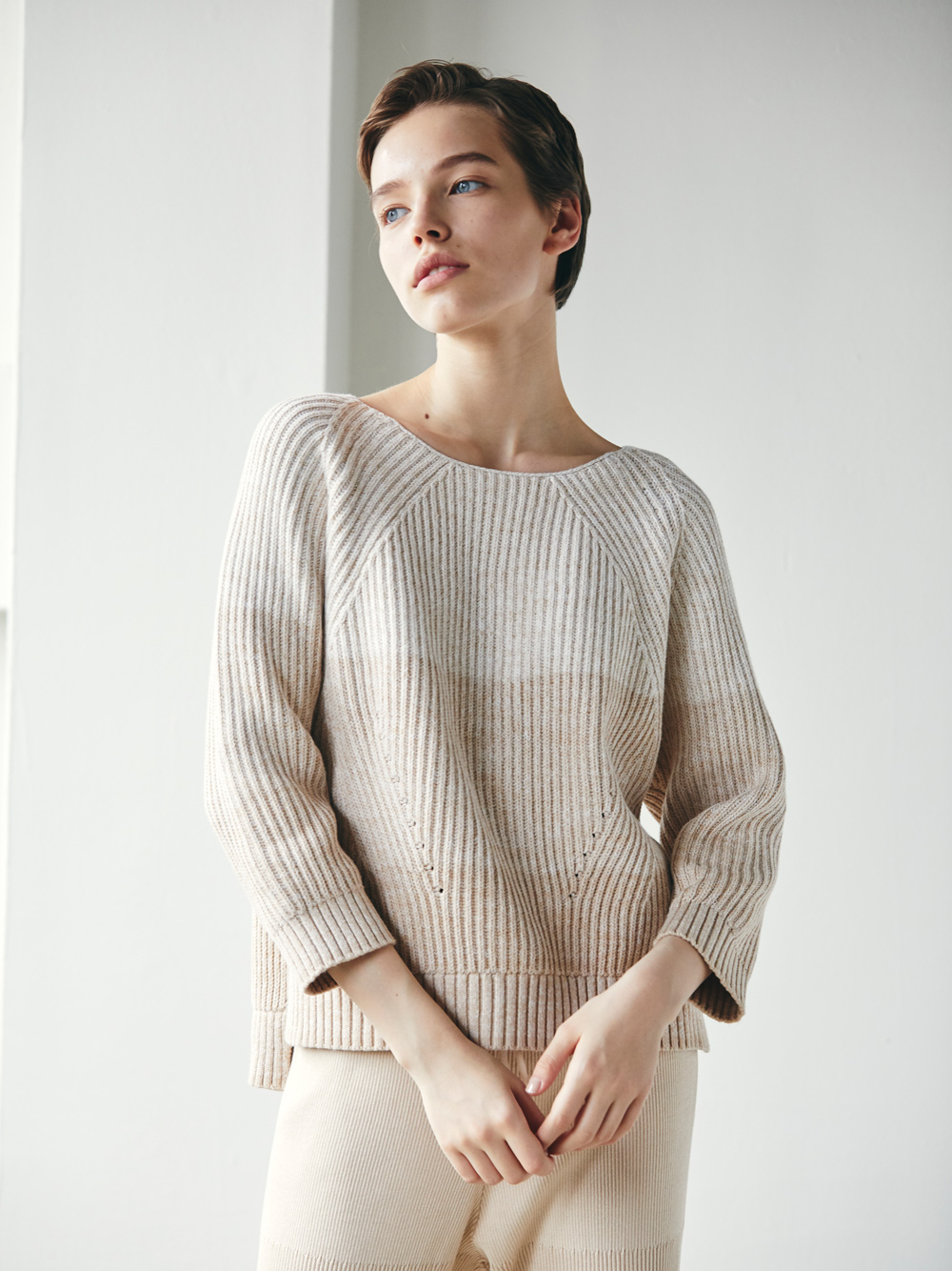 gradation knit pull over
