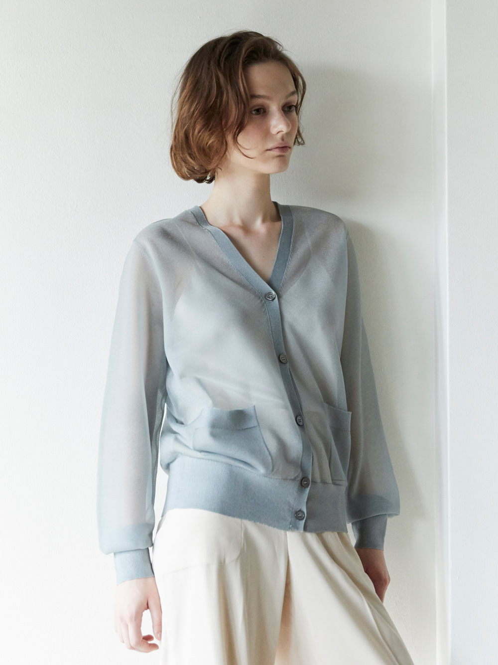 organdy sheer knit cardigan