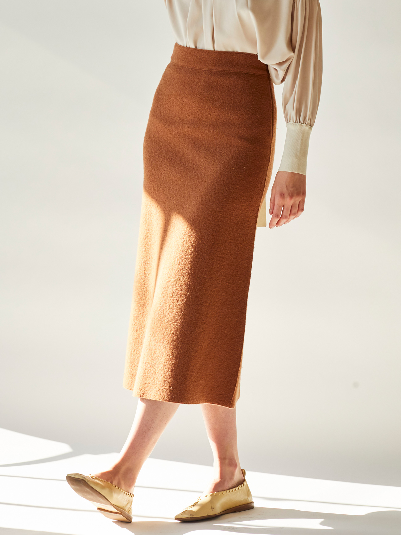 merino wool fulling knit skirt