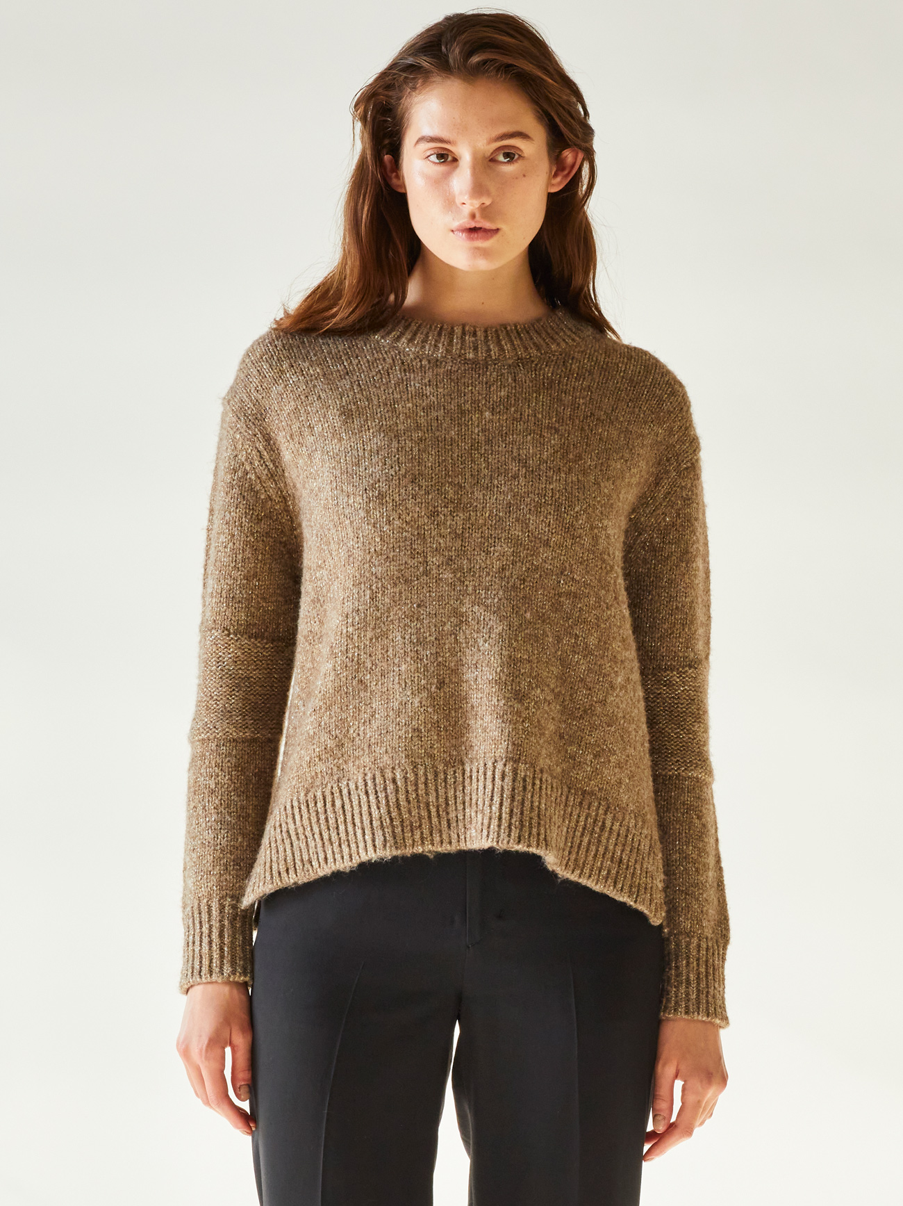 metalic nep knit pull over