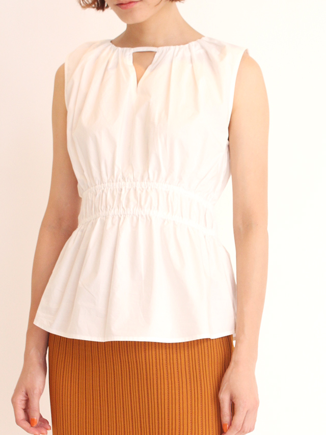 gather sleeveless blouse